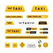 Taxi stylish set of logos icons and stickers — Stock Vector #67328091
