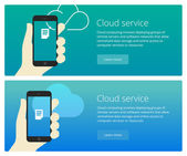 Cloud service concept web banner and promotion teaser — Stock Vector