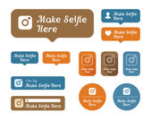Make selfie here Icons and stickers set. For cafes and other establishments — Stock Vector