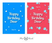 Happy Birthday Dear Tender and Cute Greeting Design Post Card Set — Stock Vector