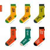 Set of socks with Telugu Indian characters Original hipster design — Stock Vector