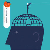 Businessman who escaped a brain jail looks through a spyglass. — Stock Vector