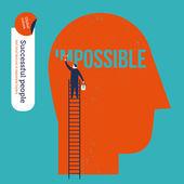 Businessman erasing the word impossible in a big head. — Wektor stockowy