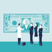 больной доллар с людьми и доктором — Cтоковый вектор