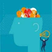 Bulbos de cerebro con el pensamiento del hombre — Vector de stock