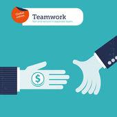 Two hands offering money. — Stock Vector