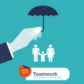 Hand protecting a family with an umbrella. — Stock Vector