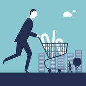 Man with  Shopping Cart — Stock Vector