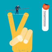 Businessman walking on a tightrope on a peace hand. — Vector de stock
