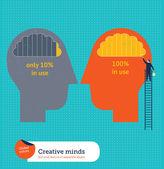 Businessman painting the brain capacity. — Stock Vector