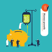Money pig getting a money transfusion. — Stock Vector