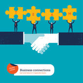 Businessmen with puzzle pieces with the word team. — Vector de stock
