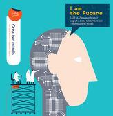 Robotic head with scientist. — Stock Vector