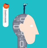 Robotic head with businessman and spyglass. — Stock Vector