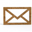 Wooden envelope icon on white background — Stock Photo #66214087