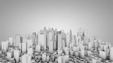 Camera rotate around abstract city. White tint. Seamless loop. More color options available in my portfolio. — Stock Video
