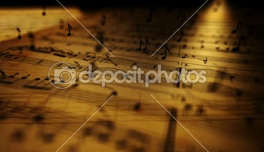 Animated background with musical notes. — Stockvideo