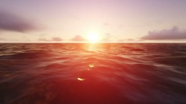 Beautiful sunset or sunrise on the ocean. Sun light beam shining through the cloudscape. — Stock Video