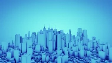 Camera rotate around abstract city. Blue tint. Seamless loop. More color options available in my portfolio. — Stock Video