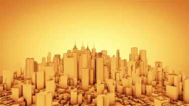 Camera rotate around abstract city. Gold tint. Seamless loop. More color options available in my portfolio. — Stock Video