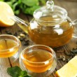 Green tea in cups and teapot — Stock Photo #63087015