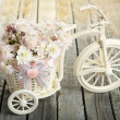 Beautiful chrysanthemums in bicycle — Stock Photo #63087191