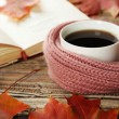 Cup of coffee with warm scarf — Stock Photo #63089115