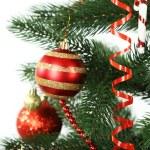 Christmas baubles on christmas tree — Stock Photo #63089137