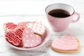 Heart pink cookies — Stock Photo