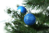 Blue baubles on christmas tree — Stock Photo