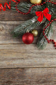 Branch of Christmas tree with balls — Stock Photo