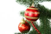 Christmas baubles on christmas tree — Foto Stock