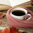 Cup of coffee with warm scarf — Stock Photo #63091019