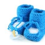 Handmade baby booties — Stock Photo #63093527