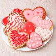 Heart cookies on white plate — Stock Photo #63095531