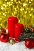 Noel ve ağaç mum Şubesi — Stok fotoğraf