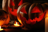 Halloween pumpkins with candels — Stock Photo