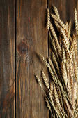 Wheat ears on wooden background — Stock Photo