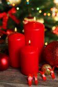 Christmas balls and candles — Stock Photo