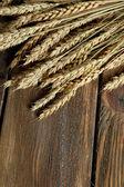 Weizen-Ohren auf hölzernen Hintergrund — Stockfoto