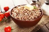 Prepared buckwheat in bowl — Stock Photo