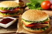 Fresh tasty burgers — Stock Photo