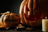 Halloween pumpkins with candels — Fotografia Stock