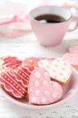 Heart pink cookies — Stock Photo
