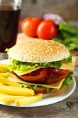 Fresh burger with fries — Stock Photo