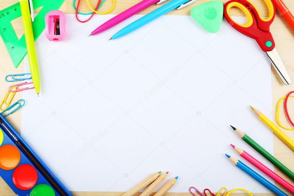Colorful Frame School Supplies White Background Free