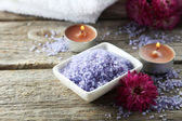 Sea salt in white bowl — Stock Photo