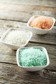 Sea salt in white bowls — Stock Photo