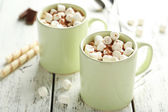 Glasses of hot chocolate with marshmallows — Stock Photo