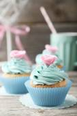 Tasty birthday cupcakes — Stock Photo